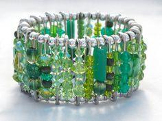 Emerald Green. Swarovski Crystals. Gorgeous. #jewelry #safety_pins