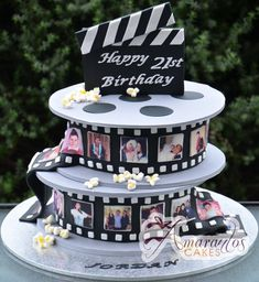 - Amarantos Cakes - Two Tier Film Reel Cake # cinema 9th Birthday Cake, Themed Birthday Cakes, Themed Cakes, Birthday Cake With Photo, Beautiful Cakes, Amazing Cakes, Hollywood Cake, Hollywood Theme, Festa Jurassic Park