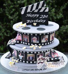 Two tier Film Reel Cake- NC333 - Amarantos Cakes - Two Tier Film Reel Cake Nc333