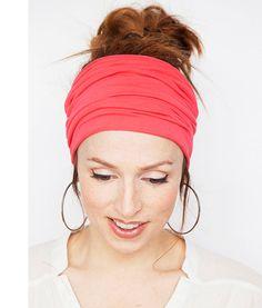 Wide Coral Headband  Stretchy Cotton Jersey Yoga by MinitaStudio  #coral #accessory #hair #hairtrends #hairstyle #headband #activewear #sportswear #haircare #headwrap #hairwrap #haircovering #yogawear #yogagear #yoga #yogi #shabbychic #lovely #cute #hairaccessories #womenshair #wide #stretch #minitastudio