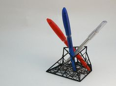 Pen Holder Sculpture printed with a 3D Printer via Shapeways.