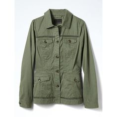 Eyelet Trim Military Jacket | Banana Republic ❤ liked on Polyvore featuring outerwear, jackets, eyelet jacket, military jacket, field jackets, army jacket and green field jacket