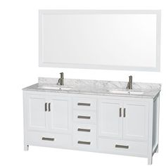 "Sheffield 72"" Double Bathroom Vanity by Wyndham Collection - White  Michelle- favorite double vanity so far to date. Has a matching linen tower.. Tear out closet?"
