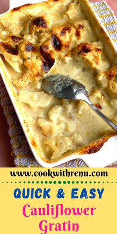 Easy Cauliflower Gratin is a delicious cheesy bake made using low carb cauliflower and the topped perfectly browned using flour, milk, and cheese.  #vegetarian #recipes #cauliflower #gratin #cauliflowerrecipes #cheese #french #recipe #bake #egglessbake #yummy