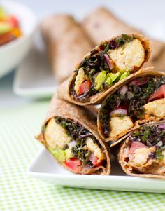 This lady can do no wrong! Kale Avocado Wraps w/ Spicy Miso-Dipped Tempeh.