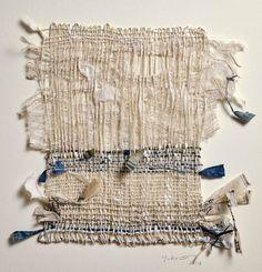 Margaret Yuko Kimura Indigo Shifu, mulberry paper, Japanese old bookpages,indigo… Weaving Textiles, Weaving Art, Textiles Techniques, Weaving Techniques, Textile Fiber Art, Textile Artists, A Level Textiles, Fabric Journals, Art Journals
