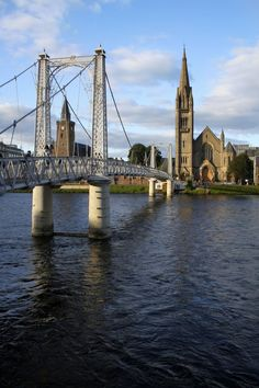 Footbridge in Inverness, Scotland - In my novel, a sentimental meeting takes place on the white footbridge that crosses the Ness.