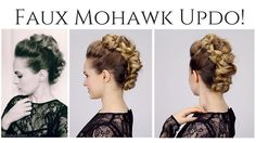 Updo Hairstyle Faux Mohawk Updo This looks so cool and it's SO easy! Perfect for a New Years Eve look. Faux Mohawk, Mohawk Updo, Updo Hairstyle, Faux Hawk Hairstyles, Dance Hairstyles, Pretty Hairstyles, Wedding Hairstyles, Woman Hairstyles, Hairstyles Videos