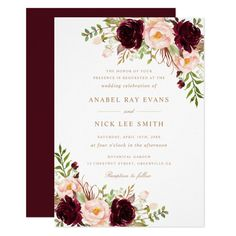 Floral Burgundy Blush Modern Elegant Wedding Invitation - tap to personalize and get yours #Invitation #burgundy #blush #zgroupon #invitation #modern Wedding Invitations Elegant Modern, Burgundy Wedding Invitations, Beach Wedding Invitations, Save The Date Invitations, Wedding Stationery, Birthday Invitations, Wedding Favors, Modern Invitations, Wedding Decorations