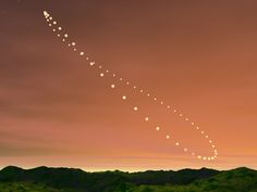 Analemma. The sun's position in the sky, photographed from the same location at the same time of day throughout a year, forms an analemma. This shows the sun's apparent swinging from its northernmost...