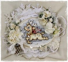 Shabby Christmas Card with Magnolia image by LLC DT Member Tina Makuc.