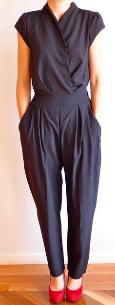 Black Baggy Long Jumpsuit