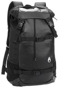 Nixon Men s Landlock Backpack, Black, One Size. poly, 19 inch inch X 6 inch  33 liters. Ripstop cinch and dual snap buckle closure, side zipper to main  mesh ... 60a835a2d0