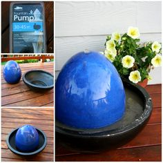 Make Water Garden Fountains for your desktop or garden. Here is a collection of beautiful fountain projects, if you need a place to sit quietly and contemplate the sounds of nature Concrete Fountains, Diy Garden Fountains, Indoor Water Fountains, Outdoor Fountains, Diy Water Feature, Backyard Water Feature, Bubble Diy, Diy Water Fountain, Jardin Decor