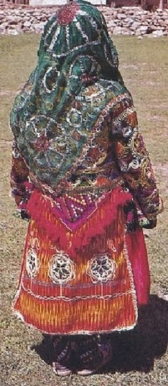 Rearview of the traditional bridal/festive costume from the central district of the Sivas province.  Clothing style: rural, mid-20th century.