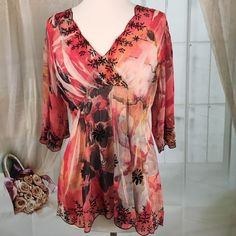Mushka by Jenna Rose Inc Bohemian Style Top Lovely sheer Bohemian style top.  Great condition. Size M. Mushka by Jenna Rose Tops Blouses