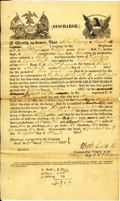 Family Tree Friday: War of 1812 certificates of discharge