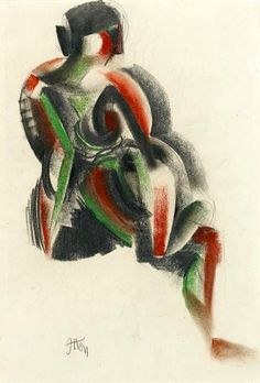 Itten, Johannes (1888-1967) Sitting Woman - 1919. Graphite, colored pencil and charcoal on paper.