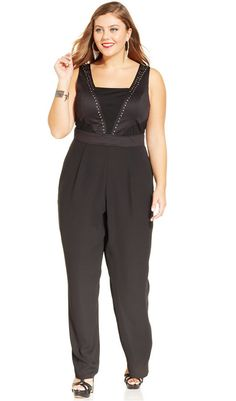 Trixxi Plus Size Sleeveless Studded Jumpsuit