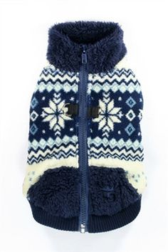 side view of Hip Doggie Luxuriously Soft Plush Polar Fleece Snowflake Sweater Vest for dogs in color Navy Blue shown on dog