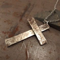 Large Christian Cross Jewelry Light Textured White Bronze Necklace For Men or…