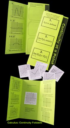 Calculus Continuity Foldable Engaging Activity.   This resource is designed for all first semester Calculus students. It is from unit two, Limits and Continuity. The trifold contains three activities in one, is paper friendly, and can be used in Interactive Notebooks if desired
