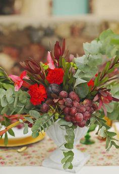 Boho wedding-fruit marsala centerpiece