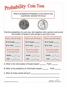 We all know a coin toss gives you a chance of winning, but is it always that way? Delve into the inner-workings of coin toss probability with this activity. Math Resources, Math Activities, Probability Worksheets, Art Worksheets, Maths 3e, 7th Grade Math, Homeschool Math, Homeschooling, Math Stations