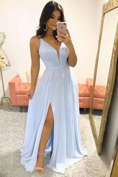 Blue Sexy Slit Chiffon Long Prom Dress, Evening Dress CR 670 - - Source by Baby Blue Prom Dresses, Cute Dresses, Beautiful Dresses, Formal Dresses, Chiffon Dresses, Baby Dress, Tea Length Bridesmaid Dresses, Wedding Bridesmaid Dresses, Prom Party Dresses