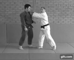 Ko-uchi gari (minor inner reap) to sumi-gaeshi (corner reversal)