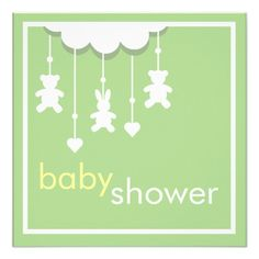 Sweet Baby Green Mobile Baby Shower Invitation