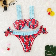 253cc7a585a97 ASHORESHOP Floral print ruffle bra Bikini sets – ASHORE SHOP Bikini 2018, Push  Up Bikini