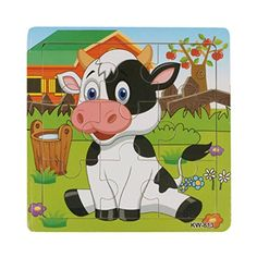 Leegor New Christmas Gift Wooden Dairy Cow Jigsaw Toys For Kids Education And Learning Puzzles Toys