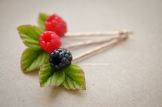 Handmade berries bobby pin Handmade berry Polymer clay hair