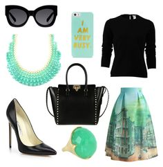 """""""I'm meeting all day, but I stay fly!"""" by queencryss on Polyvore featuring Chicwish, Oscar de la Renta, Brian Atwood, Emi Jewellery, Ippolita, Karen Walker, Valentino and BaubleBar"""