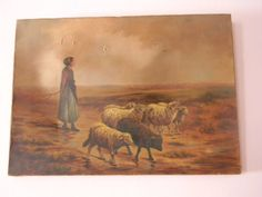 Antique Oil Painting . Girl with Sheep by GemsOfTimeVintage