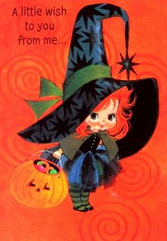 Vintage Halloween Card cute kitsch 70's greetings card design of a baby witch with her pumpkin of treats