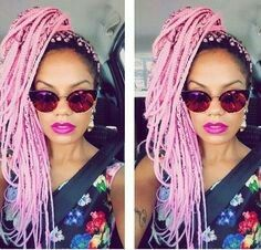 Pink box braids