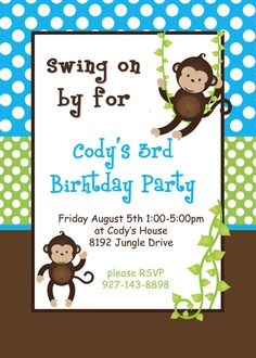 DIY Monkey Birthday Party PRINTABLE Cupcake by CupcakeExpress