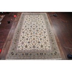 Bloomsbury Market Chadd Traditional Signed Kashan Persian Hand-Knotted Wool Beige/Blue Indoor/Outdoor Area Rug Beige, Indoor Outdoor Area Rugs, Bloomsbury, Throw Rugs, Persian, Traditional, Home Decor, Products, Shelving Brackets