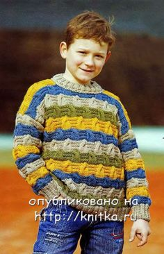 knitted sweater for boy @Af's 28/2/13 Полосатый джемпер для мальчика Knitting For Kids, Baby Knitting Patterns, Crochet For Kids, Cable Knitting, Knitting Stitches, Knit Baby Sweaters, Baby Boy Blankets, Knit Jacket, Sweater Design