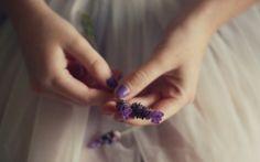 humor, menina, mãos, lavanda, flores roxas