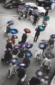 Every person is unique I 銀河 Arte Inspo, Kunst Inspo, Art Pop, Images Aléatoires, Arte Obscura, Retro Futurism, Psychedelic Art, Grafik Design, Photomontage