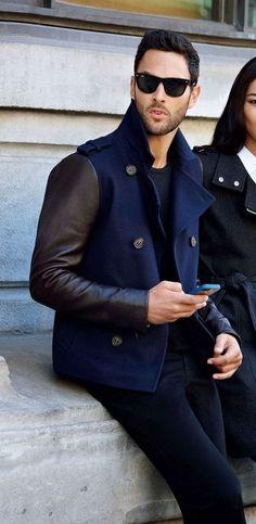 Leather-sleeved military jacket //