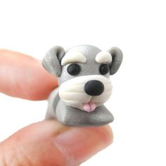 Cesky Terrier Puppy Dog Shaped Polymer Clay Gauge Stud Earring