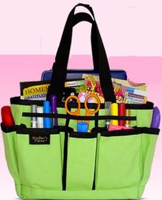 Homeschool on the go - Crafters tote bag: It works!!  I teach 4 classes at a homeschool co-op -- I finally figured out to transfer all my supplies to a scrapbooking tools tote!!
