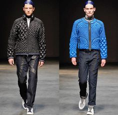 James Long 2014-2015 Fall Autumn Winter Mens Runway Looks Fashion - London Collections - Denim Jeans Treatment Mesh Pattern Panels Puffy Down Waffle Quilted Bomber Varsity Jacket Outerwear Coat Oversized Color Block Sportswear Geometric Print Patchwork Jogging Sweatpants