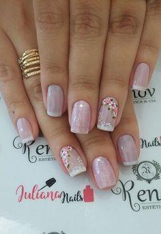 23 Modelos e Fotos de Unhas Decoradas com Flor Uñas Decoradas ? Pink Nail Colors, Pink Nails, My Nails, Nail Art And Spa, Gel Nail Art, Manicure Nail Designs, Nail Manicure, Colorful Nail Designs, Nail Art Designs