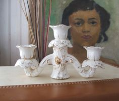 Vintage Ceramic Candelabra Candleholder white with gold by lookonmytreasures on Etsy