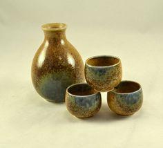 Sake Set  Jug w/ 3 Saki Cups  Salt Glazed by ChicMouseVintage